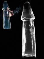 Dark Crystal Clear X-Large Dildo DCC31 - rot verfärbt